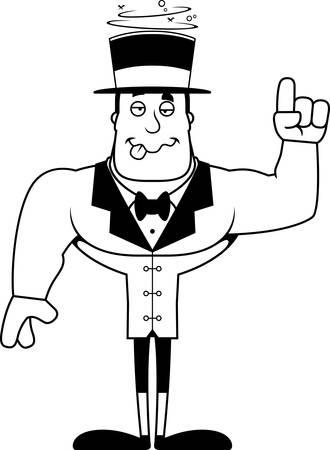 A cartoon ringmaster looking drunk. Stock Vector - 102270990