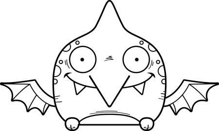 A cartoon illustration of a little pterodactyl peeking over an object. 일러스트