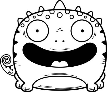 A cartoon illustration of a lizard smiling.