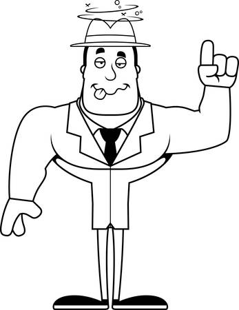 A cartoon detective looking drunk. Illustration