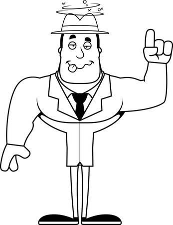 A cartoon detective looking drunk. 矢量图像