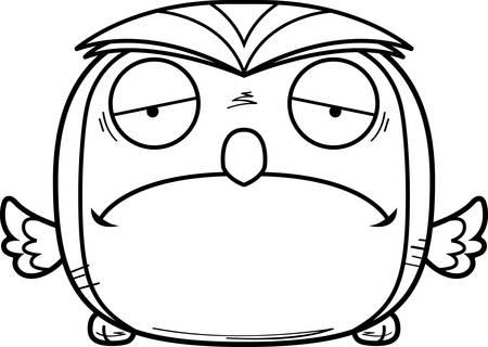 A cartoon illustration of a owl looking sad.