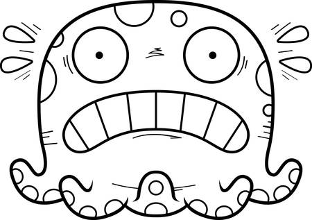 A cartoon illustration of a octopus looking scared.