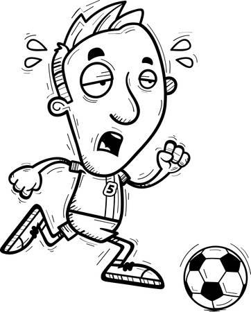 Una caricatura de la ilustración de un jugador de fútbol de hombre corriendo y mirando agotado. Foto de archivo - 102271184