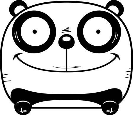 A cartoon illustration of a panda cub peeking over an object.