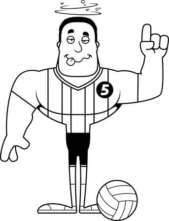A cartoon volleyball player looking drunk. Illustration