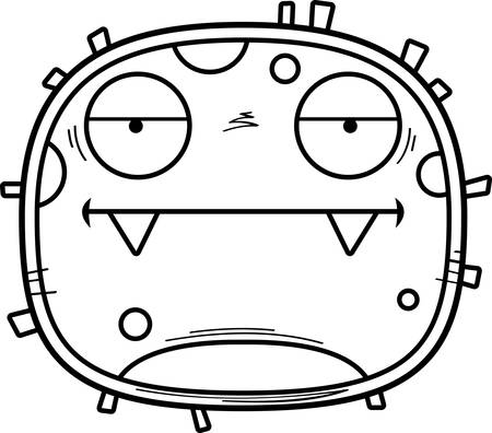 A cartoon illustration of a germ looking bored.