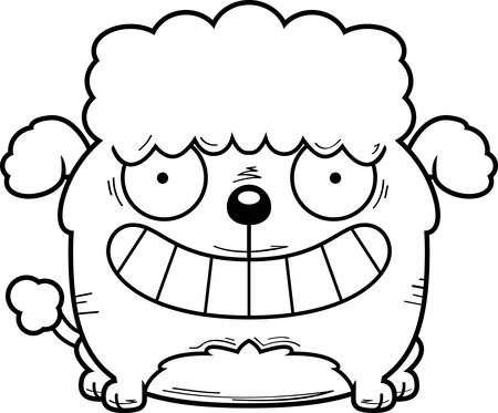 A cartoon illustration of a little poodle looking happy.