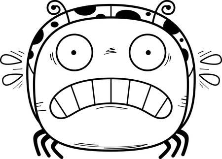 A cartoon illustration of a ladybug looking scared.