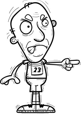 A cartoon illustration of a senior citizen man track and field athlete looking angry and pointing.