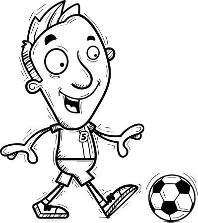 A cartoon illustration of a man soccer player walking.