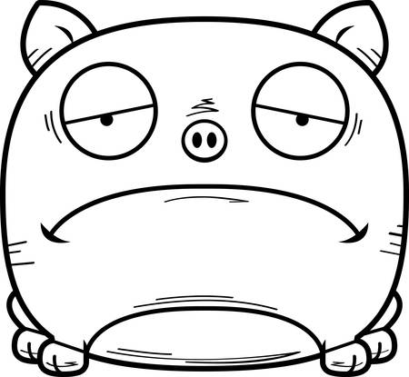 A cartoon illustration of a little pig looking sad.