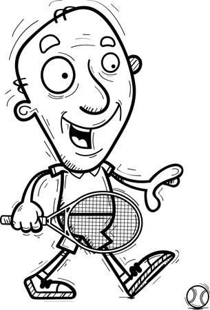 A cartoon illustration of a senior citizen man tennis player walking.