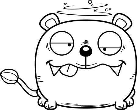 A cartoon illustration of a lioness cub with a goofy expression.