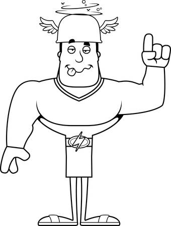 A cartoon Hermes looking drunk.