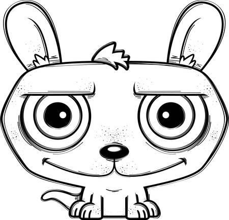 A cartoon illustration of a little kangaroo smiling.