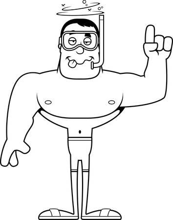 A cartoon snorkeler looking drunk. Stock Vector - 102271841