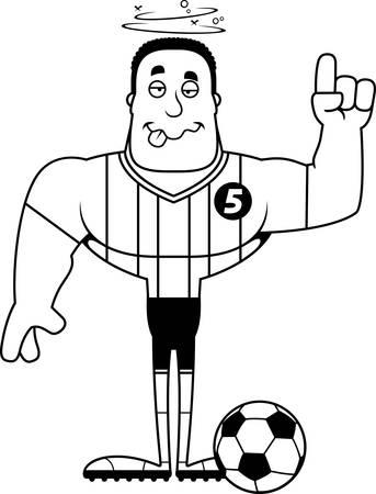 A cartoon soccer player looking drunk. Stock Vector - 102271871
