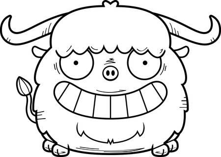 A cartoon illustration of a yak looking happy. 向量圖像