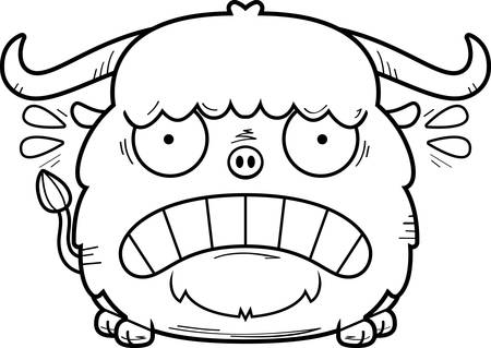 A cartoon illustration of a yak looking scared.
