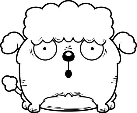 A cartoon illustration of a little poodle looking surprised.  イラスト・ベクター素材