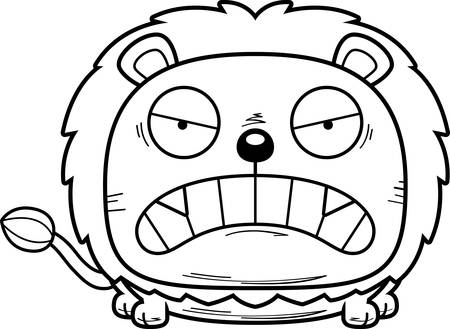 A cartoon illustration of a lion cub with an angry expression.