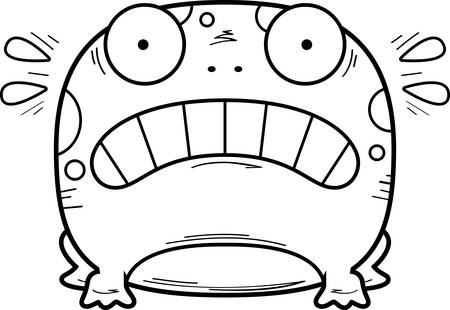 A cartoon illustration of a frog looking scared.