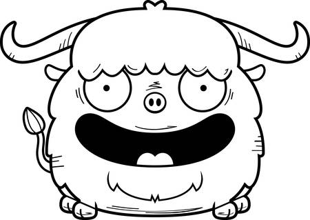 A cartoon illustration of a yak smiling. Illustration