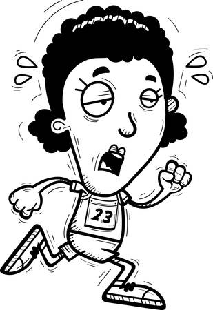 A cartoon illustration of a black woman track and field athlete running and looking exhausted.