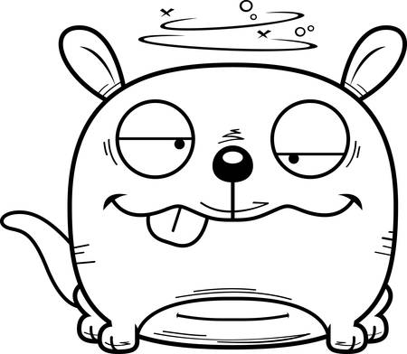 A cartoon illustration of a little kangaroo looking drunk. Illustration