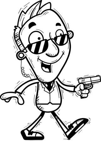 A cartoon illustration of a man secret service agent walking.