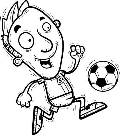 A cartoon illustration of a man soccer player dribbling a soccer ball.
