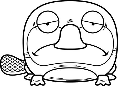 A cartoon illustration of a little platypus with a sad expression.