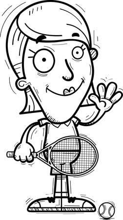 A cartoon illustration of a woman tennis player waving.