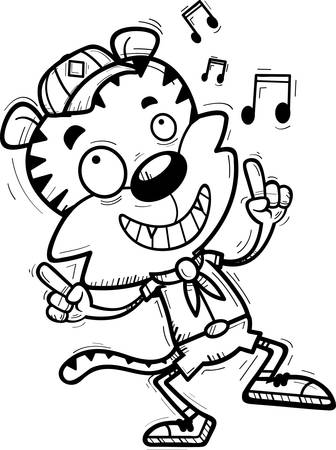 A cartoon illustration of a male tiger scout dancing. Vectores