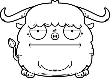 A cartoon illustration of a yak looking bored. Illustration