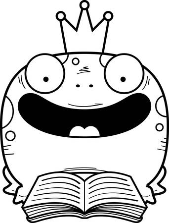 A cartoon illustration of a frog prince reading a book. Ilustrace