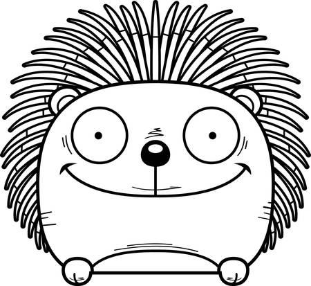 A cartoon illustration of a porcupine peeking over an object. Illustration