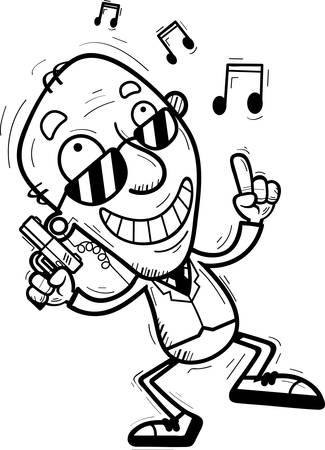 A cartoon illustration of a senior citizen man secret service agent dancing.