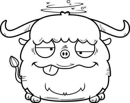 A cartoon illustration of a yak looking drunk.