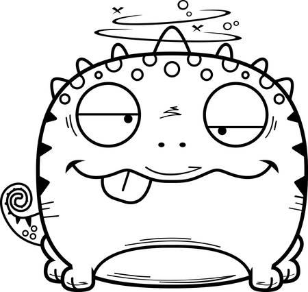 A cartoon illustration of a lizard looking intoxicated. 일러스트