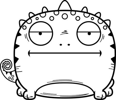 A cartoon illustration of a lizard looking calm. 向量圖像