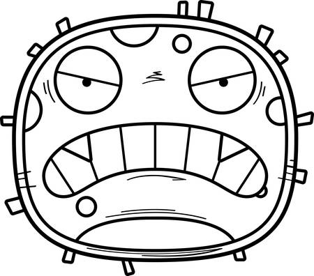 A cartoon illustration of a germ looking angry. Çizim
