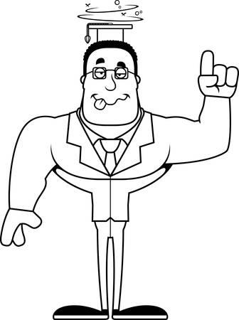 A cartoon teacher looking drunk. Ilustração