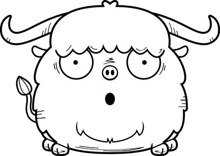A cartoon illustration of a yak looking surprised. Illustration