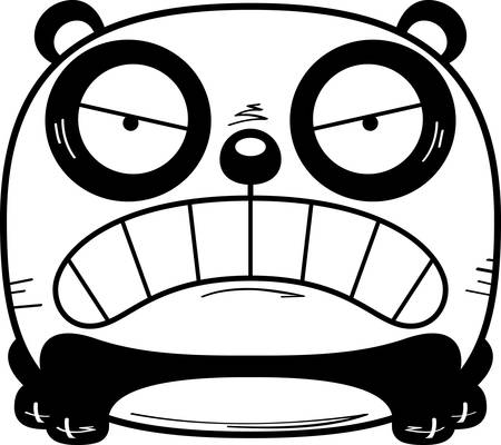 A cartoon illustration of a panda cub with an angry expression.