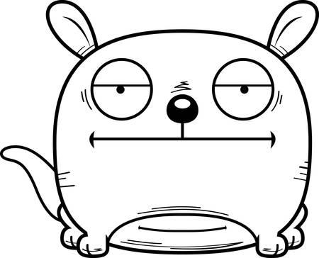 A cartoon illustration of a little kangaroo looking calm.