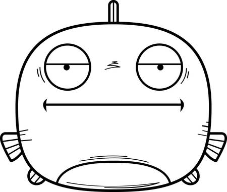 A cartoon illustration of a fish looking bored.