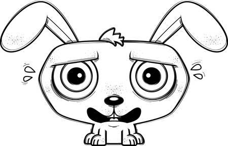 A cartoon illustration of a rabbit looking terrified.