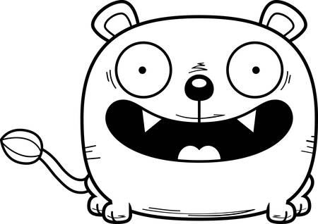 A cartoon illustration of a lioness cub with a happy expression.